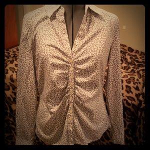 Leopard print work button down blouse